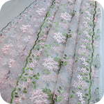 "49"" Width 3D Organza Pink Flowers and Leaf Embroidered Lace Fabric by The Yard"
