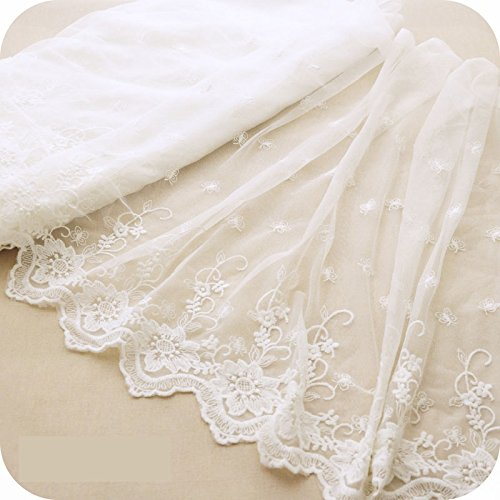 45cm Width Ivory White Retro Floral Embroidered Tulle Lace Trim by the Yard