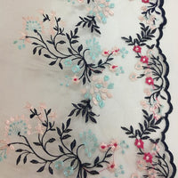 37cm Width x 270cm Length Black Branches and Pink and Red Flowers Embroidery Lace Tulle Fabric Trim