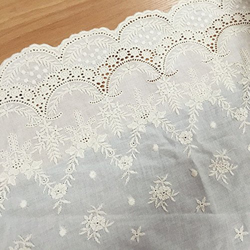 "16.9"" Width Vintage Hollow Cut Embroidery Cotton Floral Lace Fabric by the Yard"