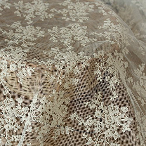 "51"" Wide Floral Embroidered Mesh Lace Fabric by the Yard"