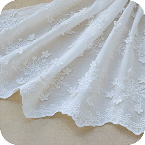 "51"" Width Ivory White 3D Floral Embroidered Cotton Lace Fabric by the Yard"