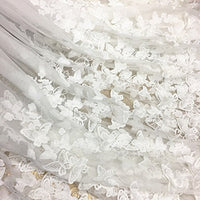 "57"" Width 3D Butterfly Embroidery Haute Couture Lace Fabric by the Yard -White"