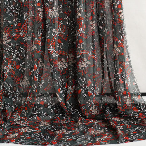 "57"" Width Hit Color Bontanical Red Floral Print Chiffon Fabric by the Yard"
