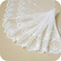 30cm With Delicate Floral Embroidery Lace Fabric Trim by the Yard