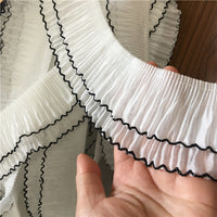 2 Yards of Vintage Double Layer Ruffle Pleated Lace Fabric with Edge Lines