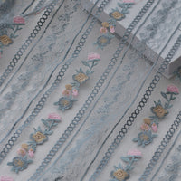 130cm Width x 90cm Length Classical Vertical Strip  Floral Embroidery Lace Fabric