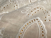 "51"" Width Vintage Eyelet Floral Embroidery Fabric by The Yard"