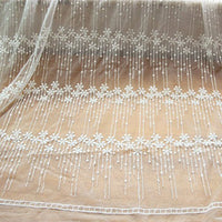 "51"" Width Parallel Raindrops Like Mesh Fabric Embroidery Lace fabric – by the Yard"