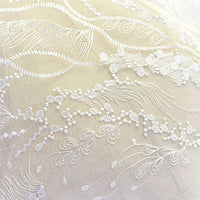 "51"" Width Premium Angels Feather and Floral Embroidery Bridal Wedding Lace Fabric by the Yard"