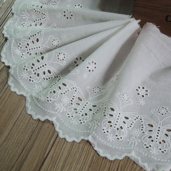 3 Yards of 18.5cm Width Vintage Cotton Lace Embroidery Butterfly Eyelet Trim Fabric