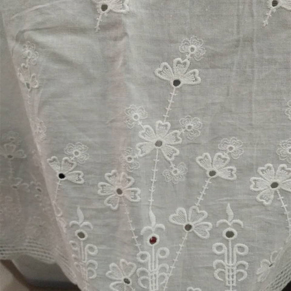 "55"" Width Contton Floral Embroidery Eyelet Lace Fabric by the Yard"