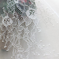 "62"" Width Embroidered Hollow out Knitted Floral Lace Fabric by the Yard"