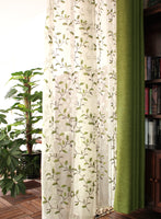 240cm Height by The Yard Organza Botanical Curtain Veil Panel