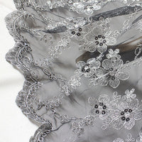 "58"" Width Silver Line out of Black Mesh Floral Embroidery Bone Lace Fabric - by the Yard"