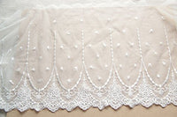 2 Yards of 20cm Width White Retro Floral Embroidery Lace Trim
