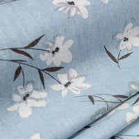 "57"" Width Almond Blossom like Flowers Print Vintage Blue Cotton Linen Art Fabric by the Yard"