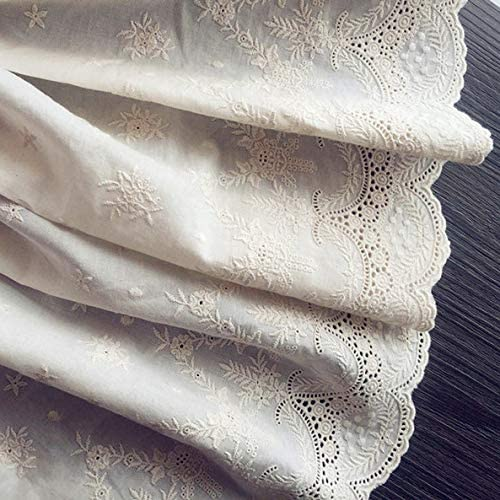 "2 Yards of 16.9"" Width Vintage Hollow Cut Embroidery Cotton Floral Lace Fabric"