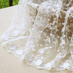 "51"" Wide Floral Embroidered Mesh Lace Veil Fabric by the Yard"