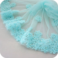 "25"" Width Beaded Flowers Tulle 3D Lace Fabric By the Yard"