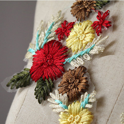 1 Pair of 2pcs Premium Vintage Color Flower Branch Embroidery Applique Patches