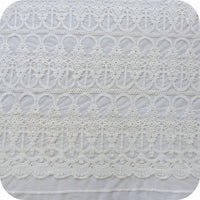 "51"" Width Beige Cotton Vintage Embroidery Lace Fabric by the Yard"