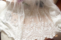 "43"" Width Retro Fine Floral Embroidery White Lace Fabric by the Yard"