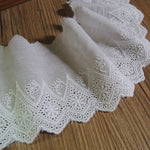 4 Yards of 10cm Width Retro Embroidery Cotton Fabric Lace Eyelet Trim