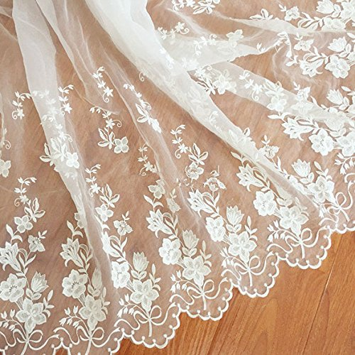 51 Inches Width Off White Organza Lace Fabric For bridal Gown ...