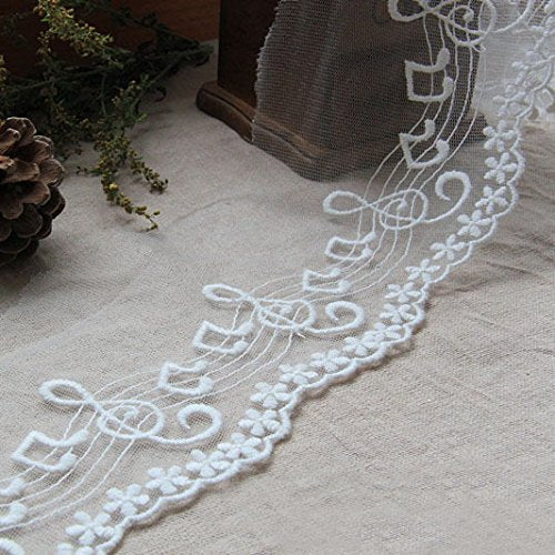 "3 Yards of 4"" Width Musical Notes Embroidery lace Fabric Trim"