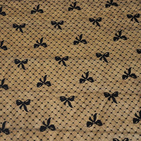 "55"" Width Bow Tie and Dots Black Embroidery Lace Fabric by the Yard"