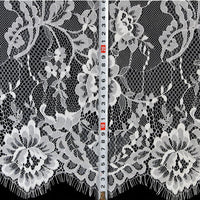3 Meter x 1.5 Meter Eyelash Floral Embroidered Lace Fabric
