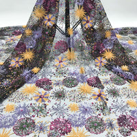 125cm Width x 90cm Length Premium Sequins Embroidery Abstract Floral Lace Fabric