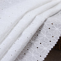 130CM Width Daisy Flower Floral Pattern Embroidery Eyelet Cotton Fabric by the Yard