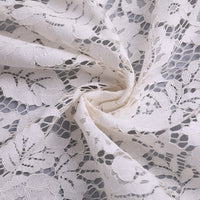152cm Width x 95cm Length Premium Hollow-out Floral Embroidery Lace Fabric Ivory color