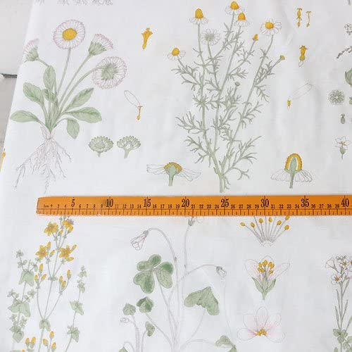92 inches Width Vintage Botanical with Yellow Blossoming Print Cotton Fabric by The Yard