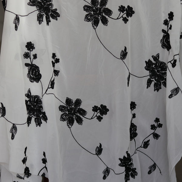 145cm Width x 95cm Length Black and White Floral Embroidery Chiffon Fabric