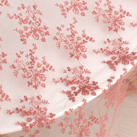 140cm Width Floral Embroidery Tulle Lace Fabric by the Yard