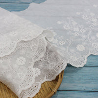 26cm Width x180cm Length Vintage  Floral Embroidery Eyelet  Cotton Fabric