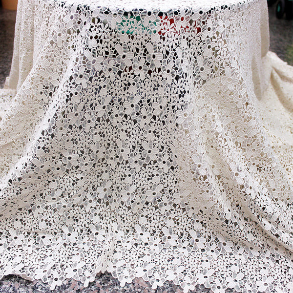 135cm Width x 90cm Length 3D Water Soluable Floral Embroidery Lace Fabric