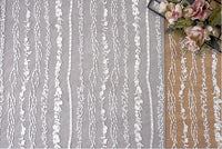 130cm Width x 90cm Length Premium Stripe Embroidery Wedding Lace Fabric