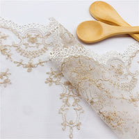 3 Yards of 17cm Retro Golden Line Embroidery Floral Lace Trim