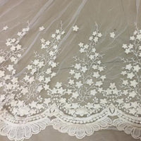130cm Width Vintage Star Tree Floral Embroidery Lace Tulle Fabric by the Yard