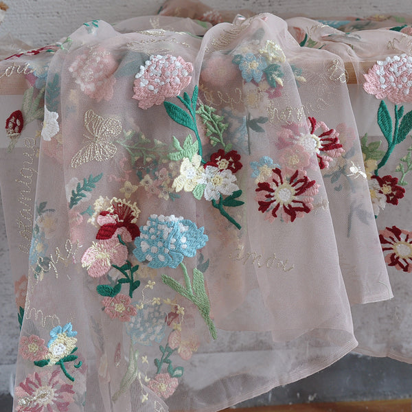 130cm Width Premium Exquisive Flowers Embroidery Lace Fabric by The Yard