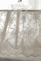135cm Width Premium Vintage 3D Vine Floral  Embroidery Bone Lace Fabric by the Yard