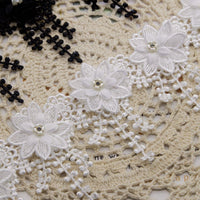9cm Width x 100cm Length  Beaded Flower  Lace  Tassel Applique