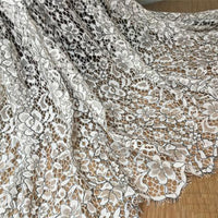 150cm Width x 150cm Length Premium Contrast Hollow out Floral Embroidery Lace Fabric