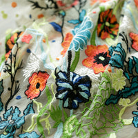 150cm Width Vintage Multi-colorful Floral Jacquard Embroidery Tulle Lace Fabric by the Yard