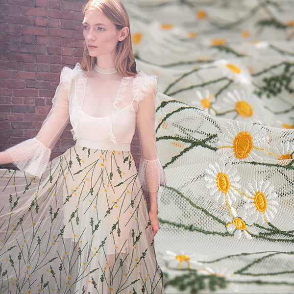 150cm Width Branches Daisy Floral Embroidery Lace Fabric  by the Yard