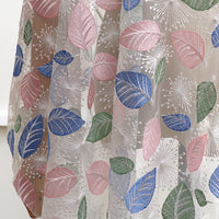 130cm Width x 95cm Length Premium Colorful Leaf and Dandelion Floral Embroidery Lace Fabric